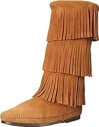 Minnetonka Women\'s Calf Hi 3-Layer Fringe Boot Taupe Suede 12 M