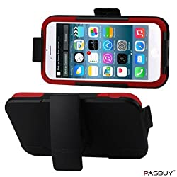 PASBUY Red/Black C09 Silicon Case Protector Cover With Kickstand For iPhone 6 4.7