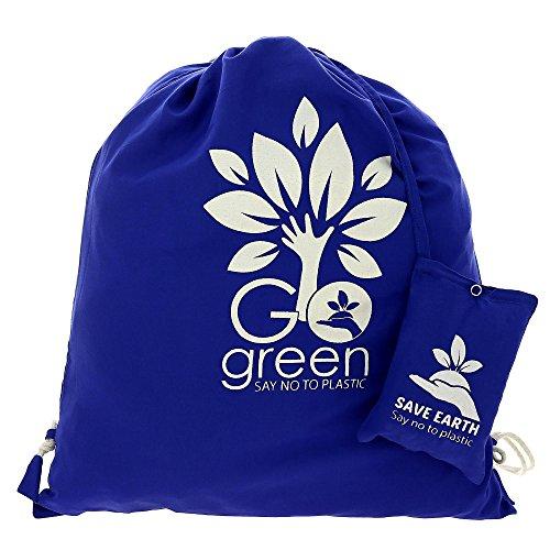 Multiuso Save the Earth coulisse Top zaino blu - amichevole riutilizzabile di Eco Borsa in cotone Shopping