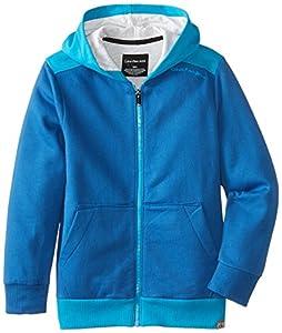 Calvin Klein Big Boys' Fleece Hoody, Nazar Blue, Large
