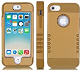 "myLife (TM) Bronze and Gold - Titan Shield Series (Neo Hypergrip Flex Gel) 3 Piece Case for iPhone 5/5S (5G) 5th Generation iTouch Smartphone by Apple (External 2 Piece Fitted On Hard Rubberized Plates + Internal Soft Silicone Easy Grip Bumper Gel + Lifetime Warranty + Sealed Inside myLife Authorized Packaging) ""Attention: This case comes grip easy smooth silicone that slides in to your pocket easily yet won"