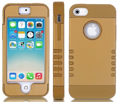 Mylife (Tm) Bronze And Gold - Titan Shield Series (Neo Hypergrip Flex Gel) 3 Piece Case For Iphone 5/5S (5G) 5Th Generation Itouch Smartphone By Apple (External 2 Piece Fitted On Hard Rubberized Plates + Internal Soft Silicone Easy Grip Bumper Gel + Lifet