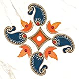 999Store Handmade Multicolour Wooden Rangoli Diwali Decorative Item, Home Décor Purple Orange