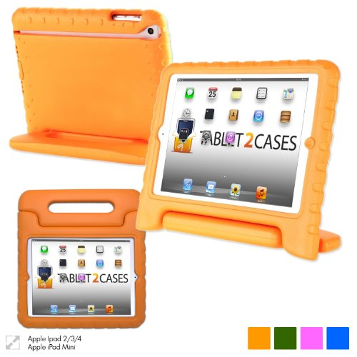Cooper Cases(Tm) Dynamo Ipad Mini Kids Case In Orange + Free Screen Protector (Lightweight, Shock-Absorbing, Child-Safe Eva Foam, Built-In Handle And Viewing Stand) front-174623