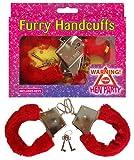 Metal furry red handcuffs fancy dress bondage hen night costume