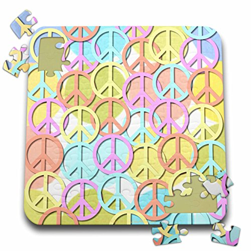 Lee Hiller Designs 60s Retro - Retro 60s Pastel Peace Signs on Pastel Dots - 10x10 Inch Puzzle (pzl_53213_2)