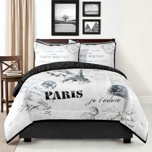 King Size 4 Piece Bedding Set Paris Comforter Pillow Shams Bedroom Bed front-1035616