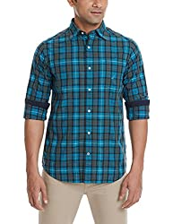 Nautica Men's Casual Shirt (8907163342836_NTW433284RT_Small_Rich Teal)