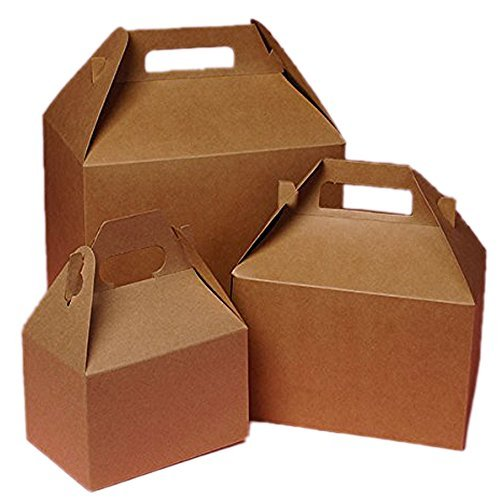 Cardboard Mini Kraft Gable Boxes 4 X 2-1/2 X 2-1/2 - Bakery Boxes - 10 each by Paper Mart (Cardboard Boxes With Handles compare prices)