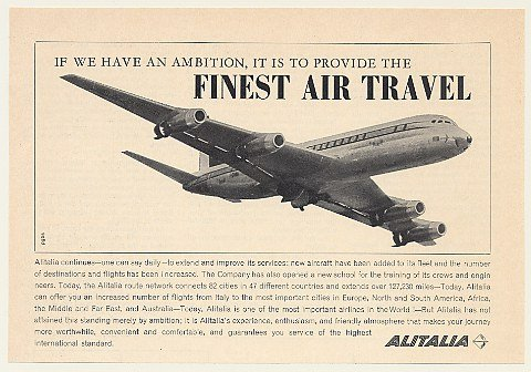 1965 Alitalia Airlines Jet Aircraft Finest Air Travel Print Ad (46301)