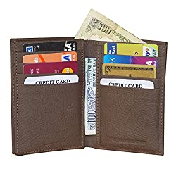 Style98 Pure Leather Brown Men Short Card Holder Wallet