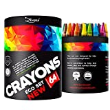 Crayons Box Colored Crayon Bulk Pack for Kids Toddlers to Color Draw - 64 Classic Wax Colors - FREE Extra Gift: Coloring E-Book, Classroom Large Count Not Crayola Non Washable New Eco School Supplies