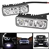 2 Pcs Ultra Bright White 3-LED DRL Daytime Running Light Bar w/Mounting Bracket for Skoda Rapid 1.5 TDI AT Ambition With Alloy Wheel (Diesel)