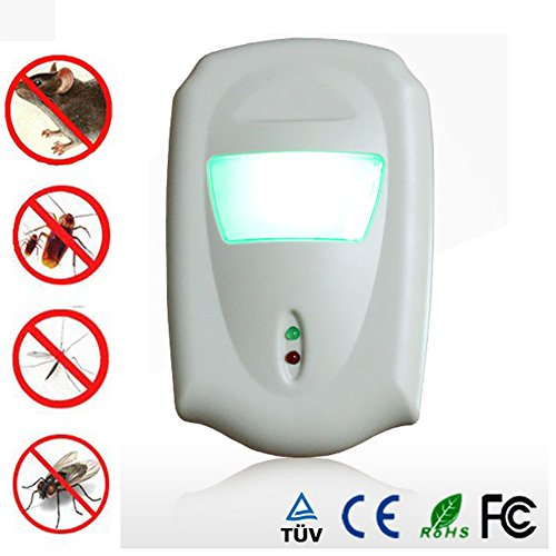 uHome Ultrasonic Pest Repeller with LED Light Eco Friendly Repell Against Mouse, Rat, Insects and More.