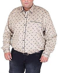 Xmex Men's Cotton Shirt (KR-359CAMEL, Beige, XXX-Large)