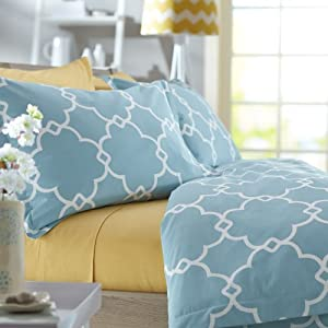 Pinzon 300-Thread-Count Lattice Duvet Cover Set - Full/Queen, Spa Blue