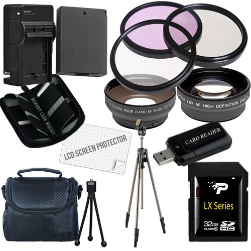 Canon T3 Accessory Saver Kit (58Mm Wide Angle Lens + 58Mm 2X Telephoto Lens + 58Mm 3 Piece Filter Kit + 32Gb Sdhc Memory + Extended Life Battery + Ac/Dc Charger + Usb Card Reader + Deluxe Camera Case W/Strap + Full Size Tripod + Microfiber Cleaning Cloth