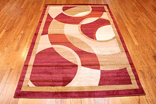 Summit #15 New Area Rug Burgundy Beige Modern Abstract Rug Many Sizes Available 2x3 2x7 4x6 5x8 8x10 (5x8 actual is 4'.10''x7'.2'')