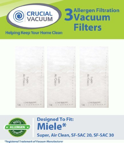 3 Miele S300 S400 S600 S800 S4000 S5000 Super Air Clean Filters Fits Miele S300, S400, S500, S600, S700, S800, S4000, S5000 Vacuum Cleaner Series; Compare To Miele Air Clean Filter Part #Sf-Sac 20, Sf-Sac20, Sf-Sac 30, Sfsac30, 3944710, 394471100018, 0478 front-7374