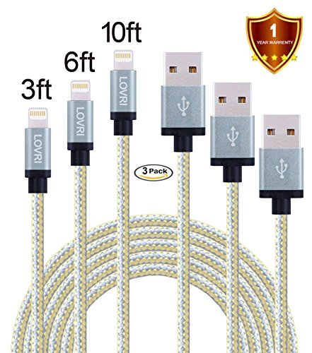 LOVRI 3Pack 3FT 6FT 10FT Apple Lightning Nylon Braided Charging Cord 8 Pin USB cords for iPhone 6s 6 Plus 5s 5c 5, iPad Pro, Air 2, iPad mini , iPod touch 5th gen / 6th gen / nano 7th gen [gray&gold] (Ipad Air Charging Cord Long compare prices)