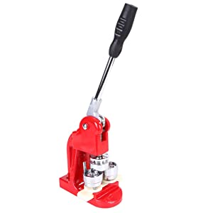 Button Badge Maker,25/32/58mm Badge Punch Press Maker Machine with 1000 Circle Button Parts School DIY Button Badge Maker (58mm) (Color: Red, Tamaño: 58mm)