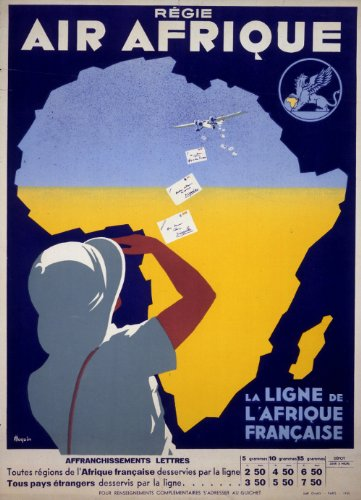 c1935 Vintage AIR AFRIQUE La Ligne de L'Afrique Francaise TRAVEL AFRICA 250gsm Gloss ART CARD A3 Reproduction Poster
