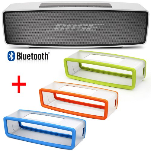 Bose Soundlink Mini Bluetooth Wireless Speaker W/ Orange, Green & Blue Soft Silicon Covers
