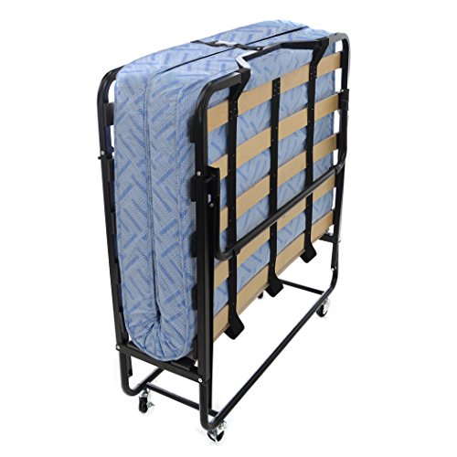 "Milliard Premium Quality Folding Bed, Super Comfortable Wooden Slat Guest Bed - With Supportive Foam Mattress 75x38"" - Twin, No Assembly"