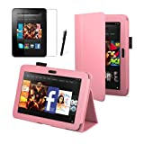 Baby Pink Luxury Multi Function Standby Case for the New Kindle Fire HD 7