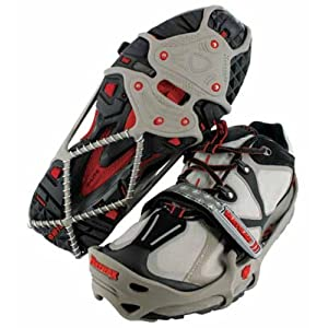 Yaktrax Run Traction Cleats for Snow and Ice, Gray/Red, Large