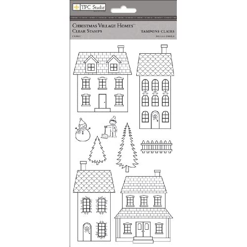 Amazon Com Tpc Studio Christmas Village Clear Stamps