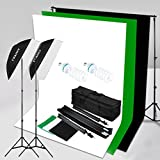 Craphy 5500k Photo Portrait Studio Flash Lighting Kit for Portrait Photography, Studio and Video Shooting (Light Stand, E27 Light Holder, 125w Lamp, White/Back/Green Backdrops, Portable Bag)