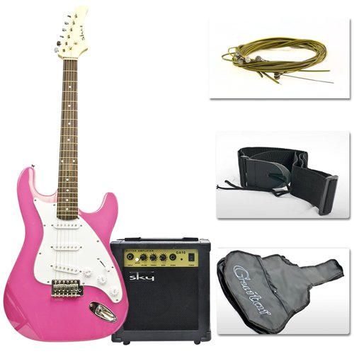 """Combo 39"""" Pink Electric Guitar With 10 Watt Amp, Guitar Case & More Accessories"""