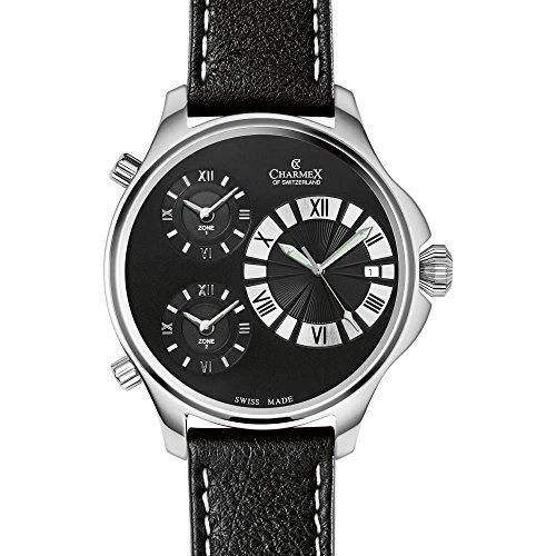 Charmex Cosmopolitan Ii Homme 48mm Noir Cuir Bracelet Date Montre 2596