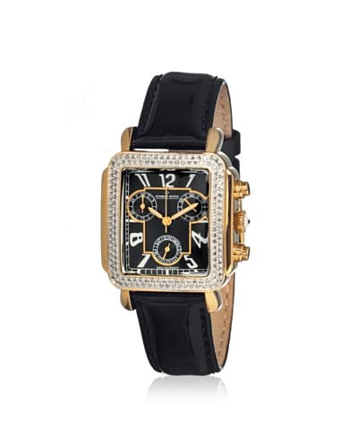 Diamant Rouge Women's WA000831 Vendome Black & Gold-Tone Leather Watch