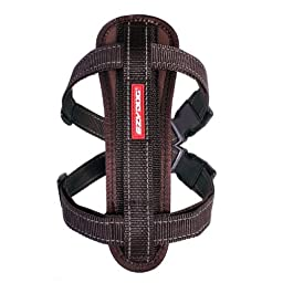 EzyDog Chest Plate Custom Fit Dog Harness, Large, Chocolate