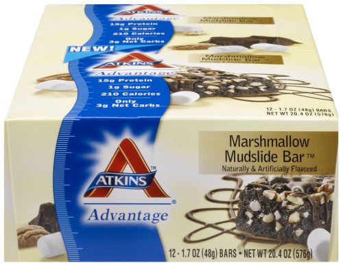 Atkins  Advantage Marshmallow Mudslide Bars - 1.7-Ounce, 12 Ct,  Boxes