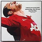 ウェイン・ルーニー マンチェスターユナイテッド 海外製 サッカーグラフィックアート 木製ポスター インテリア