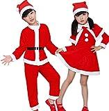 【ママ&キッズ】Pocheキッズ女の子男の子クリスマスサンタコスチューム3点セットユニセックス100cm~170cm(160,女の子)