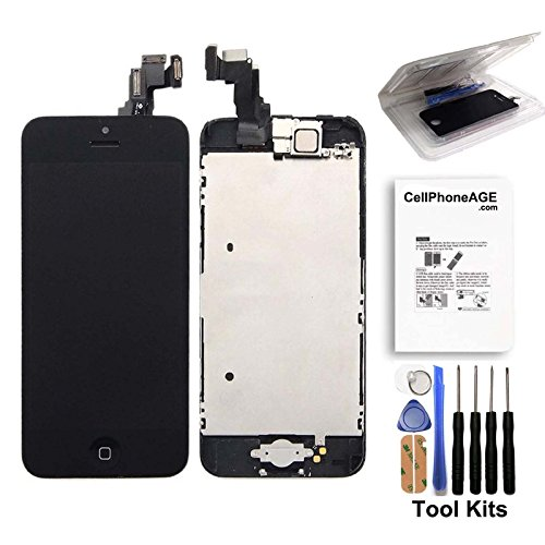 cellphoneage for iPhone 5C Black Full Set with Spare Parts LCD Screen Replacement Digitizer with Home Button, Bracket, Flex, Sensor, Front Camera, Frame Housing Assembly Display Touch Panel + Free Repair Tool Kits (Iphone 5c Replacement Digitizer compare prices)