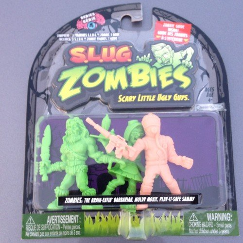S.L.U.G. (Slug) Zombies Figures 3-Pack (Series 4) The Brain-Eatin' Barbarian, Moldy Moxie, Play-It-Safe Sammy