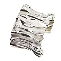 Sterling Silver Wide Ruffle Cuff Bracelet from AX Jewelry