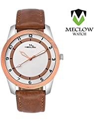 Good Quality Leather Brown Belt Round White Designer Dial Analog Watches For Men Boys By Meclow