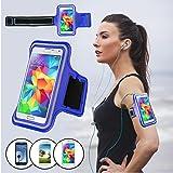 SAVFY® Bleu Brassard Armband Sport pour Samsung Galaxy S3/S4/S5 / GT-i9300/i9500/i9600 pour le Jogging / Gym / Sport - confortable avec sangle réglable