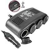 5 in 1 Car Charger - 4 port 12V DC Auto Socket Duplicator Plus USB Port