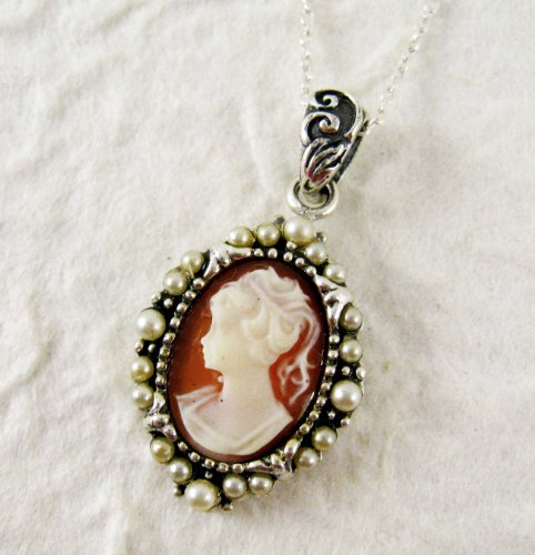 Pearl Radiance and Coral Cameo Necklace
