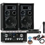 PA Karaoke Partyanlage USB SD MP3 Verstärker Boxen Kabel Funk Mikrofonset DJ-733