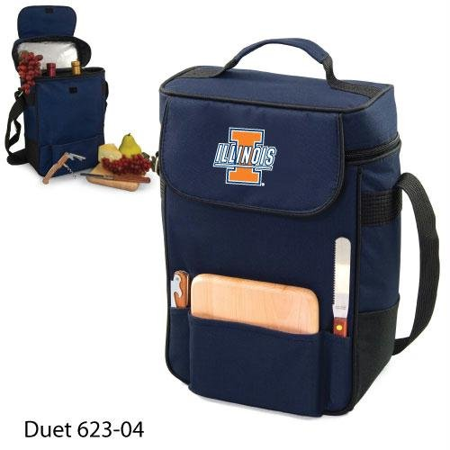 Ncaa Illinois Fighting Illini Duet Insulated Wine And Cheese Tote With Team Logo front-618984