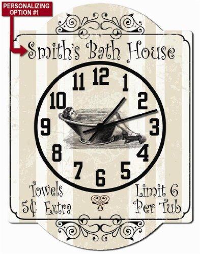 Bath House - Bathroom Personalized Hardboard Clock Sign From Redeye Laserworks