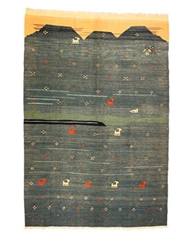 Kilim Rug, Blue/Green/Salmon, 6′ 7″ x 10′